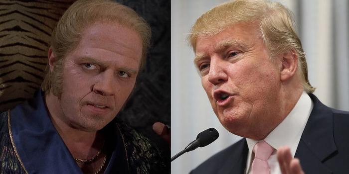 左:悪役のビフ・タネン、右、第45代アメリカ大統領ドナルド・トランプ